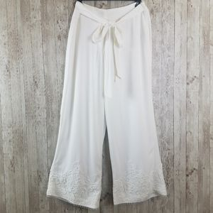 NEW Karl Lagerfeld Lace Trimmed Wide Leg Culottes